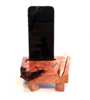 Ladestation, Dockingstation, Holz, Apple iPhone 5 bis 10 Plus, Amboina Maser Wurzelholz, Knolle, Dockingstation.